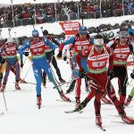 Athletes start the race in the men's 4x7.5km relay at the Biathlon World Cup in Hochfilzen, December 11, 2011. REUTERS/Heinz-Peter Bader (AUSTRIA - Tags: SPORT BIATHLON)